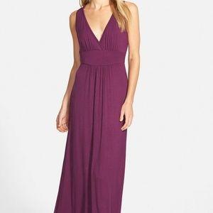 Loveappella Purple Plus 1X V-neckline Maxi Dress